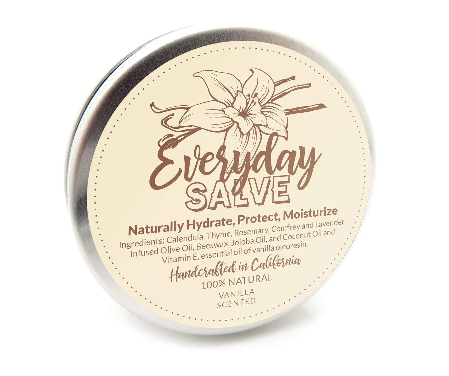 Vanilla Scented All Purpose Salve | All Natural Organic Salve By Everyday Salves | Vanilla Balm Which Moisturizes, Calms Dry & Irritated Skin ● Protect & Prevent Cracked Heels, Cuticles & Nails and Lip Balm – 2oz