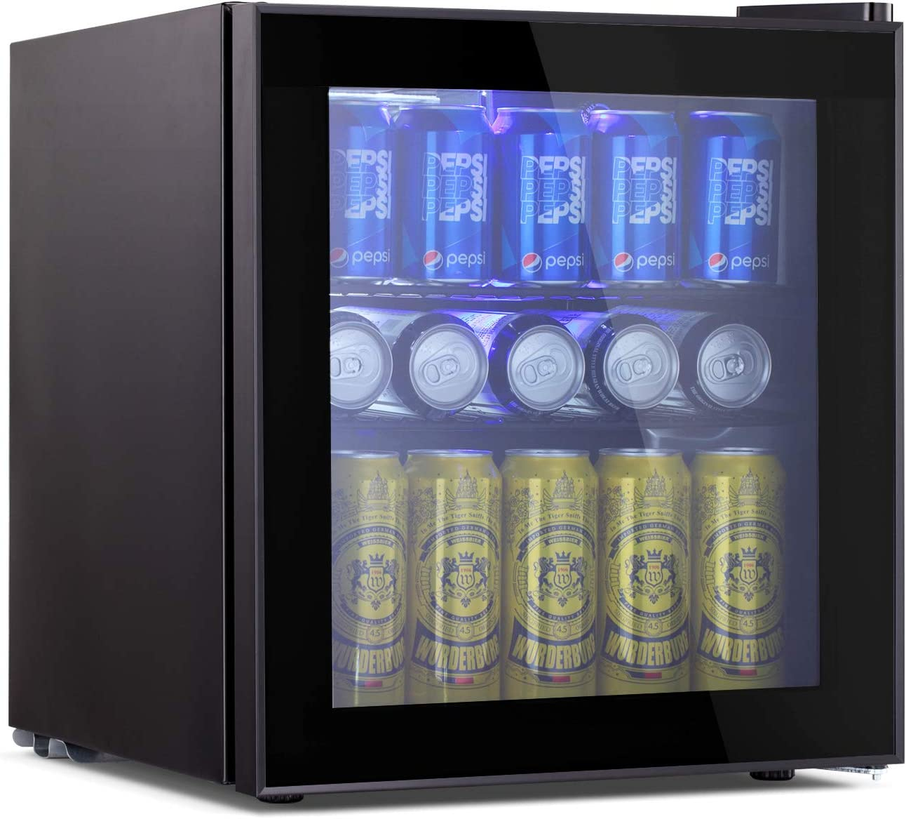 Beverage Refrigerator And Cooler 1 6 Cu Ft Drink Fridge With Glass Door For Soda Beer Or Wine Small Beverage Center With 1 Removable Shelves For Office Man Cave Basements And Home
