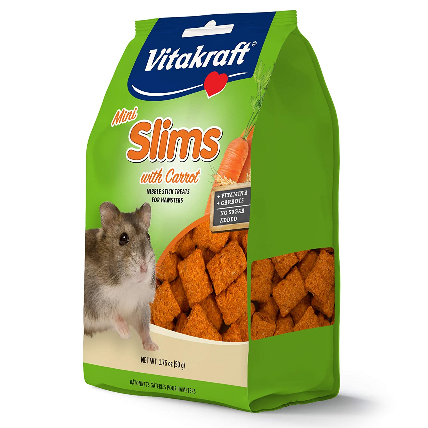Vitakraft Hamster Mini Slims with Carrot Nibble Stick Treat 3.52 Ounce Pouch