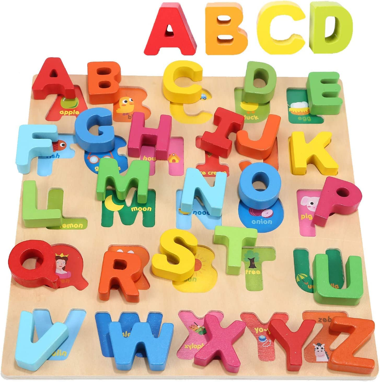 Spelling Kunmark Wooden Alphabet Puzzle ABC Jigsaws Chunky Letters Early Learning Toys for Kindergarten and Toddlers-est Educational Toy Preschool Learning Uppercase Letter Counting