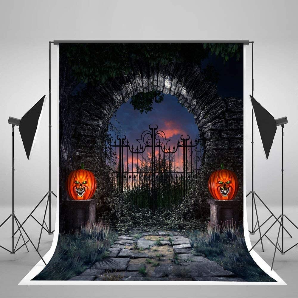 CdHBH 10x12ft Halloween Horror Atmosphere Stone Wall Iron gate and Pumpkin lamp Photo Studio Photo Background Festival Venue Party Layout Wallpaper Home Decoration Vinyl Material