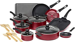 Ecolution Easy Clean Non-Stick Cookware, Dishwasher Safe Pots and Pans Set, 20 Piece, Red