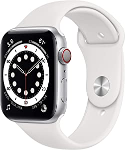 New AppleWatch Series 6 (GPS + Cellular, 44mm) - Silver Aluminum Case with White Sport Band (Renewed)