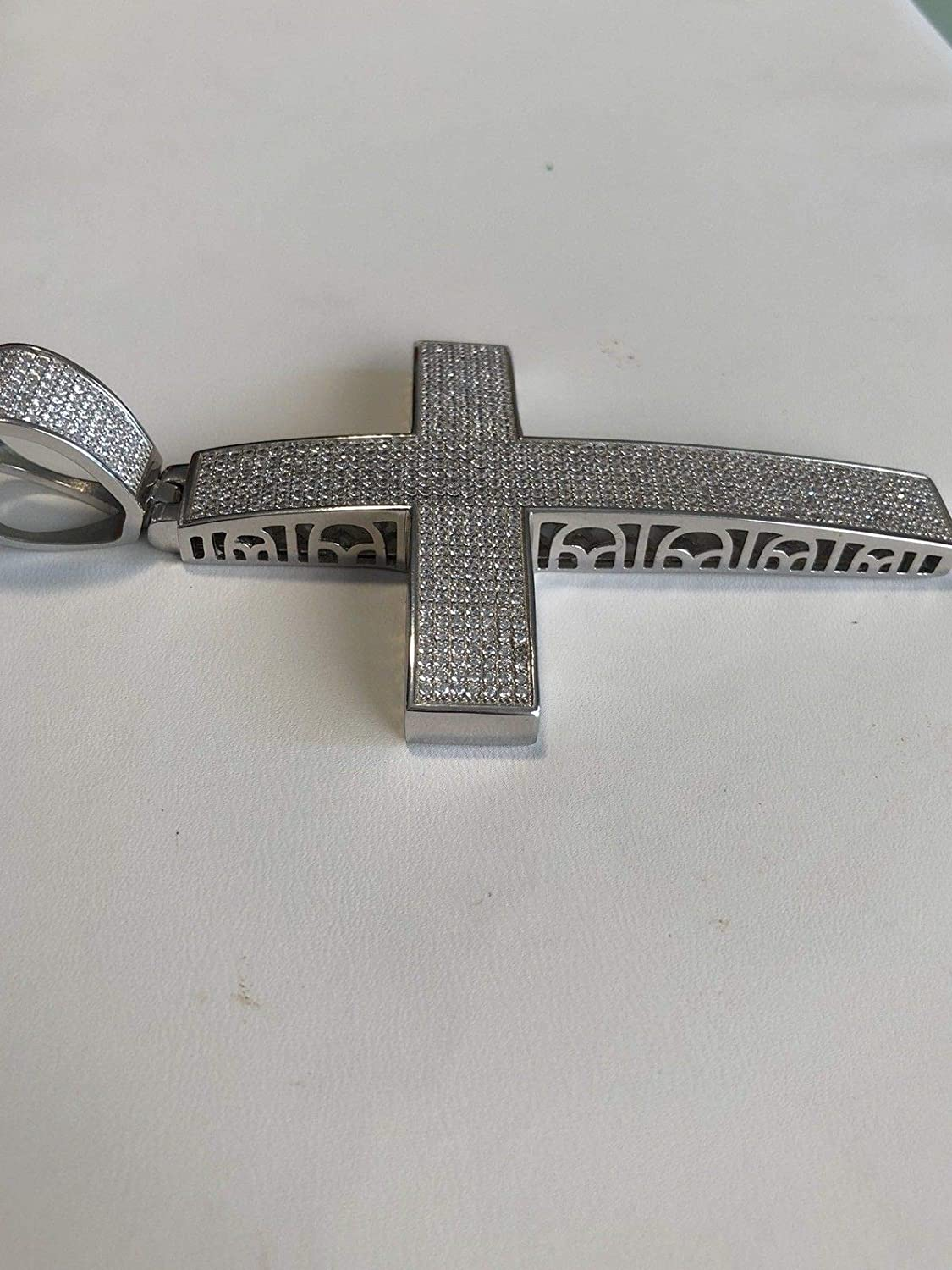 Large 2x4 44 Grams Mens Fits Up to 14mm Chains! Harlembling Solid 925 Sterling Silver Iced Out Cross Pendant