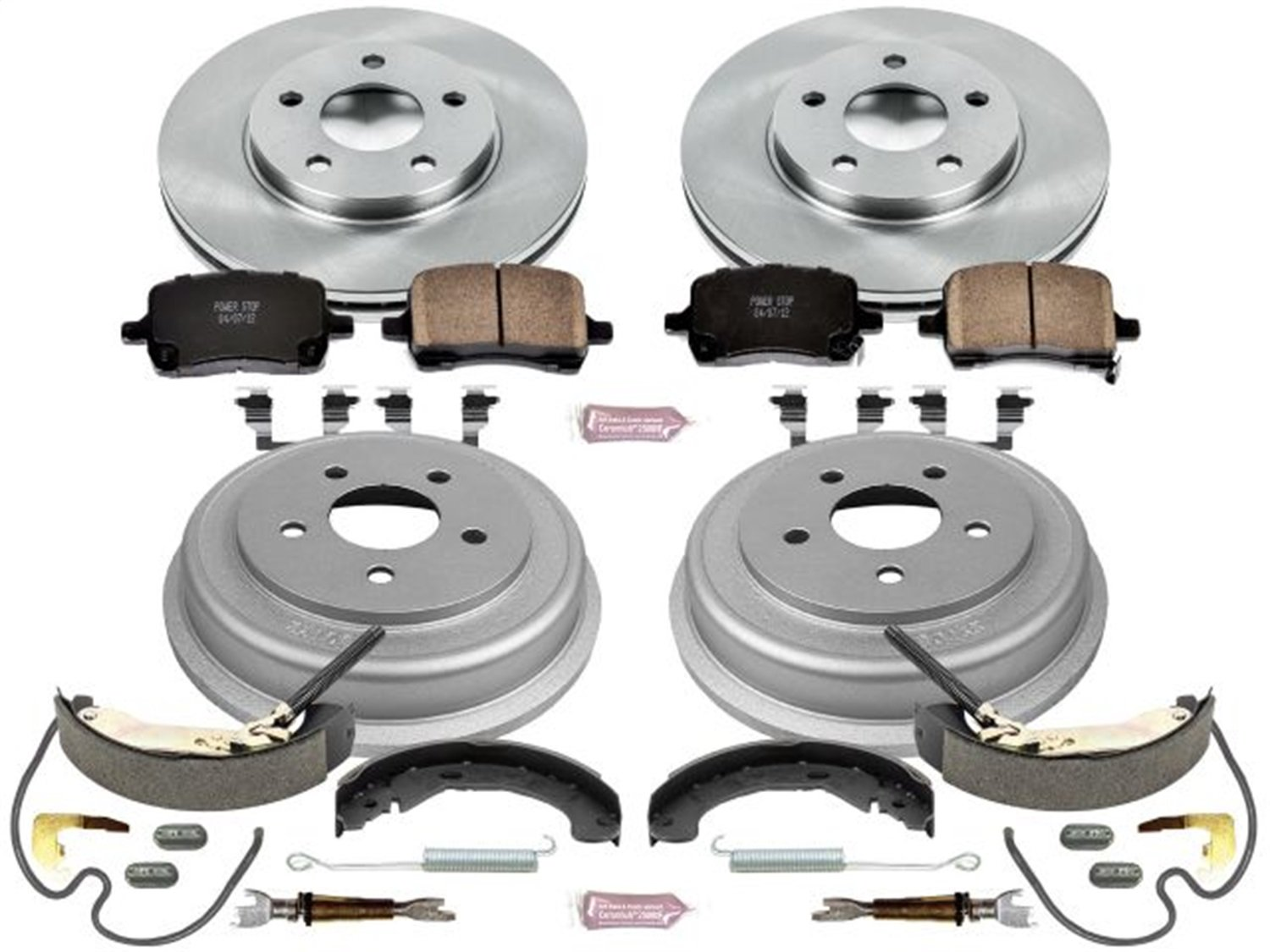 Power Stop Front /& Rear KOE15239DK Autospecialty Daily Driver Pad Drum and Shoe Kits Rotor
