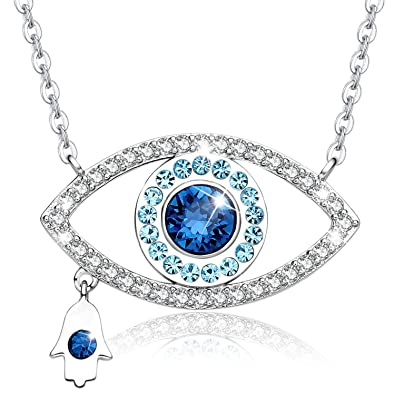 Image Unavailable. Image not available for. Color  MEGA CREATIVE JEWELRY  Blue Evil Eye and Hamsa Hand Pendant Necklace Crystal from Swarovski 2ed0635c0401