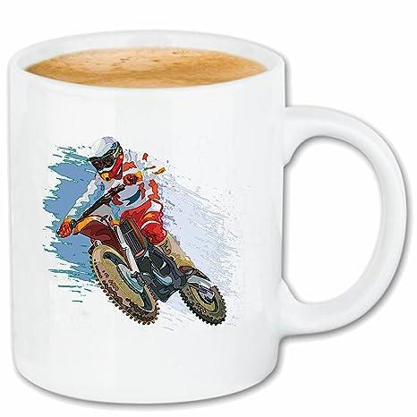 Taza cafetería párrafo 9.5cm MOTOCROSS SILUETA ??125cc Motocross Freestyle Motocross Motociclista MOTO BIKE