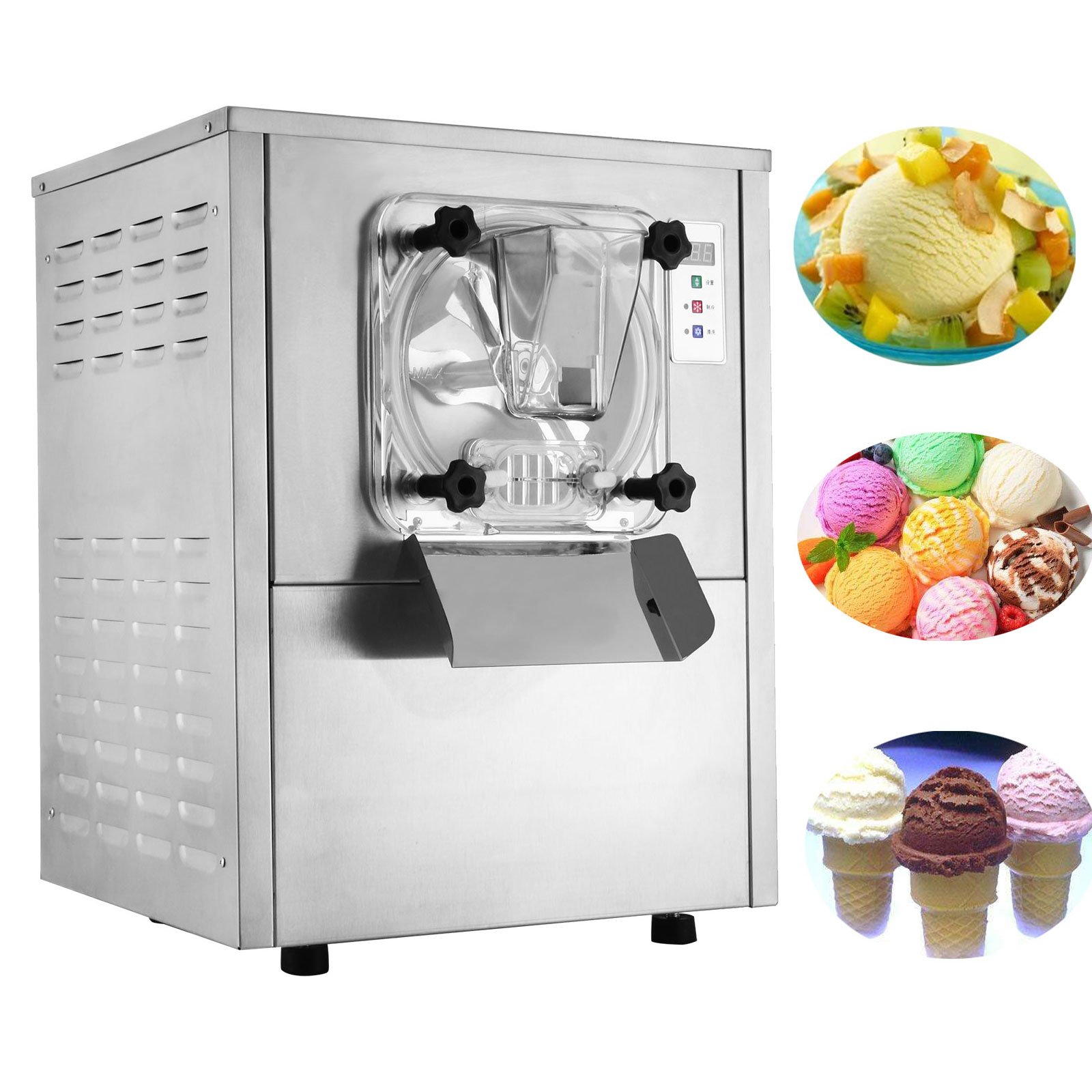 Happybuy Hard Ice Cream Machine 20L/H Food Grade 304 Stainless Steel Ice Cream Machine 1400W Commercial Ice Cream Maker Great for Recreation Center Churches and Camps