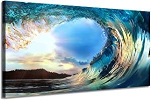 Ocean Wave Canvas Painting Picture: Seascape Artwork Print Wall Art for Living Room (40'' x 20'' x 1 Panel)