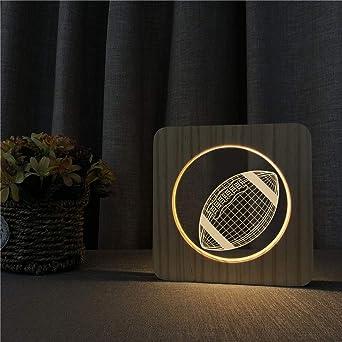 Baseball 3D lámpara de mesa de luz LED de madera con control de ...