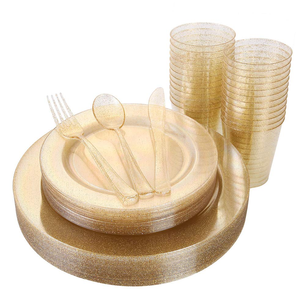 150 Pieces Gold Disposable Plates & Plastic Silverware & Cups, Gold Glitter Dinnerware Set : 25 Dinner Plates 10.25 inch, 25 Dessert PLates 7.5 inch, 25 Tumblers 9 oZ, 25 Forks, 25 Knives, 25 Spoons by IOOOOO