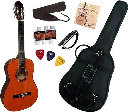 MSA - Pack guitarra clasica 4/4 con 5 accesorios, color natural ...