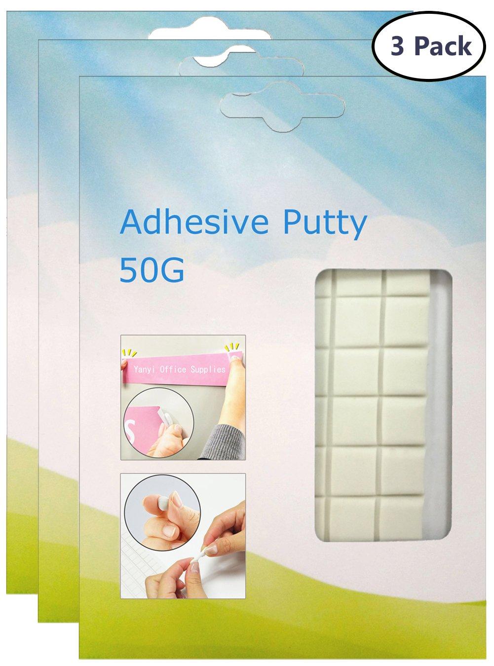 Tack Bianco, riutilizzabile Adesivo non tossico rimovibile Handy, Yanyi Brand Tack Poster, Putty Sticky (Super viscosità) (3×50g)