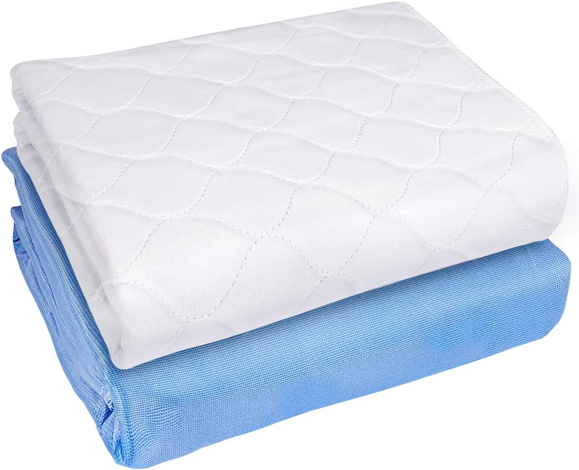 "Heavy Absorbency Bed Pads, Washable and Reusable Incontinence Underpads, 34""X52"" (2 Pack), Waterproof Sheet and Mattress Protectors"