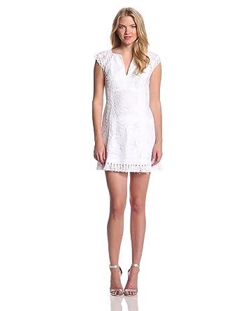 Nanette Lepore Women's Island Rhythm Lace Cap Sleeve Drop Waist Dress, White, 0
