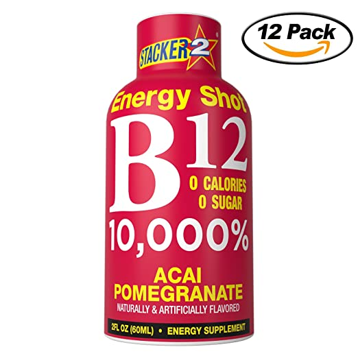 Stacker 2 B12 No Calorie Zero Sugar Energy & Vitamin Shots 2 Fl  Oz  (Pack  Of 12) Acai Pomegranate