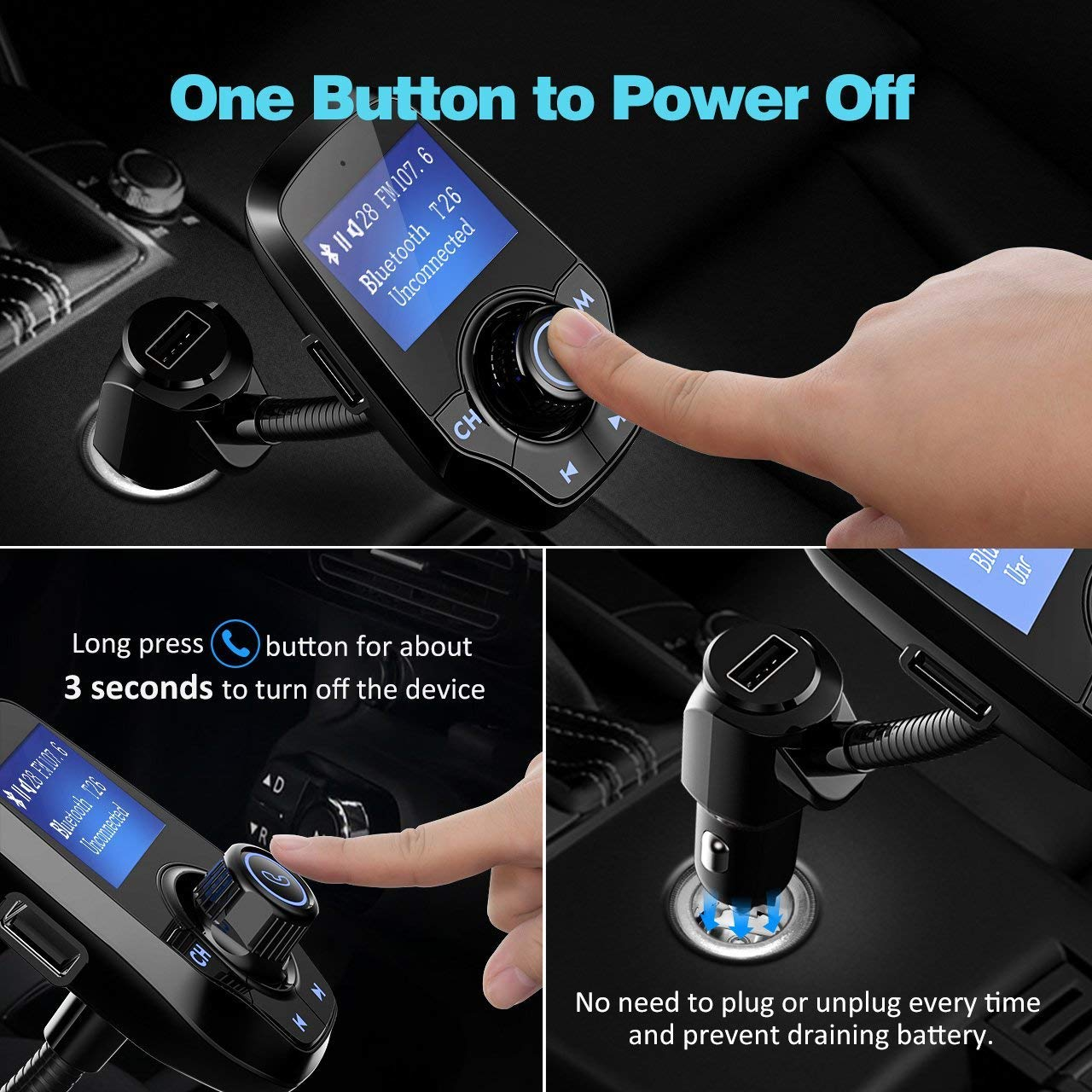 Victsing Upgraded Bluetooth Fm Transmitter For Car Usb Charger Wiring Diagram Furthermore Stereo Audio Cable Electronics