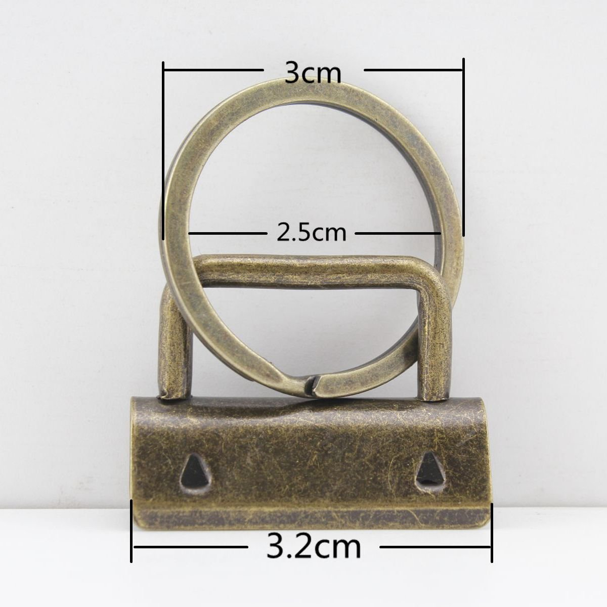 100 sets, 1 1/4 inch Heavy duty metal Key fob hardware with Split Rings Key Rings For wristlets with fabric ribbon webbing, Anti brass, key fob wholesale. 100 sets per lot AC96B 3DANCraftit