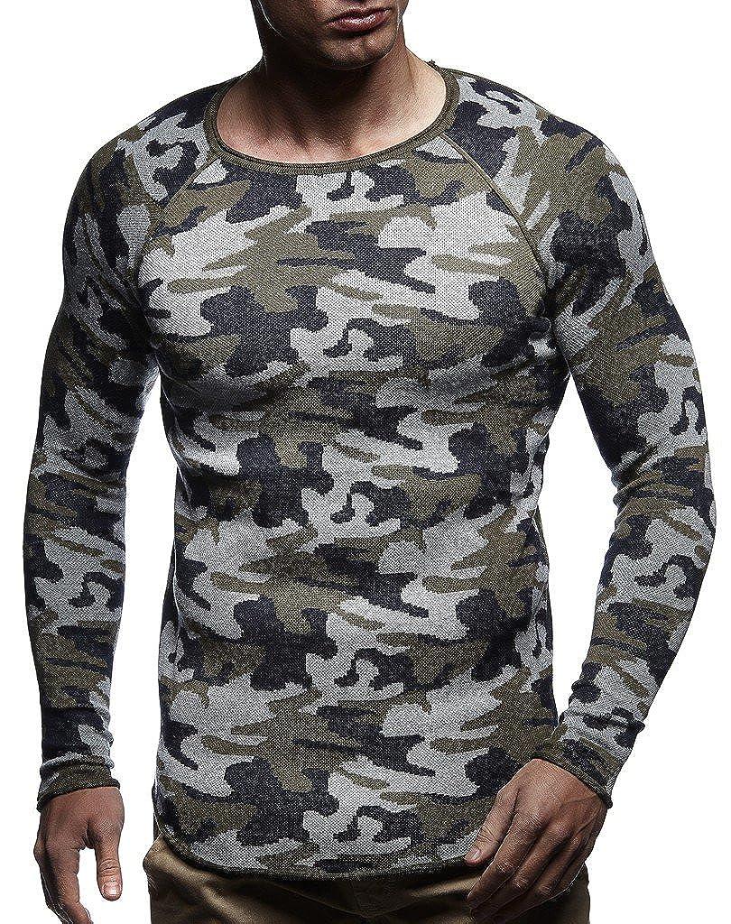LEIF NELSON Herren Pullover Strickpullover Hoodie Basic Rundhals Crew Neck Sweatshirt Langarm Sweater Feinstrick LN20736