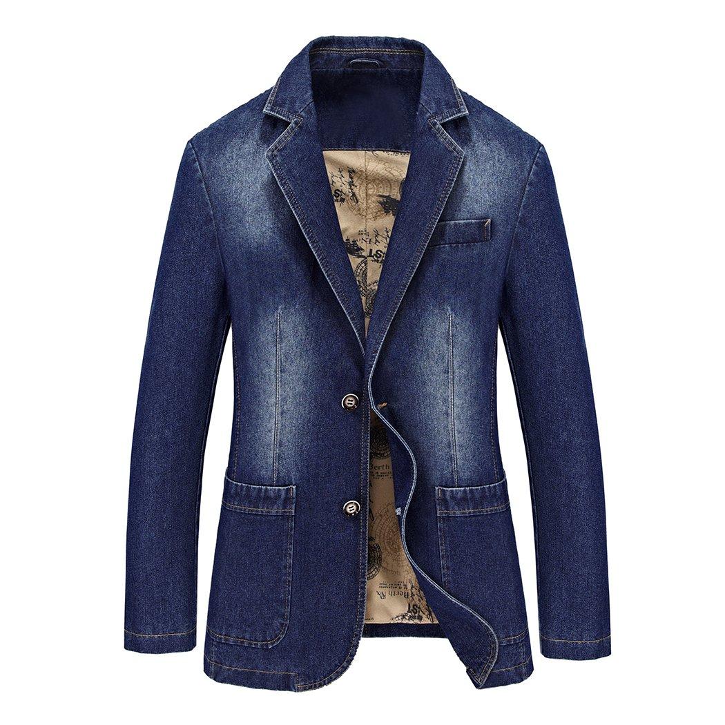 Modern Fantasy Men's Denim 2 Buttons Jacket Blazer Jeans Suit 6543675919788
