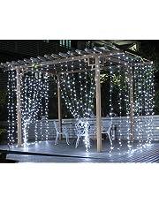 LE Cortina de Luces LED, 3m x 3m 306 LED, Blanco Frío, Resistente al Agua, 8 Modos de Luz, decoración de Navidad, fiestas, bodas, jardín etc.