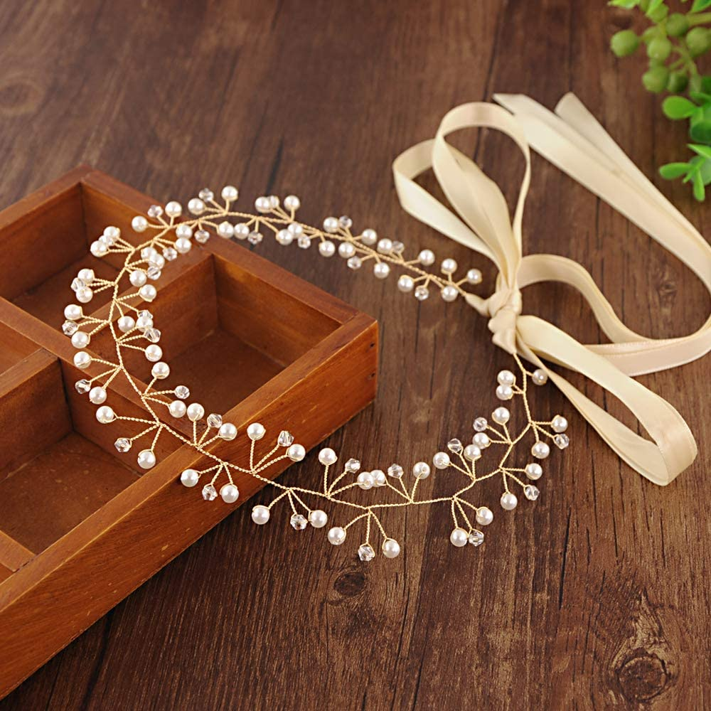 ULAPAN Wedding Hairpiece Wedding Hair Vine Pearls Bridal Hairpiece Headband Wedding Headwear with Off-White Ribbon