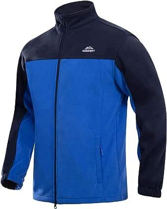 MAGCOMSEN Men's Fleece Jacket Full Zip Stand Collar Windproof Windbreaker Fall Winter Jacket with Pockets