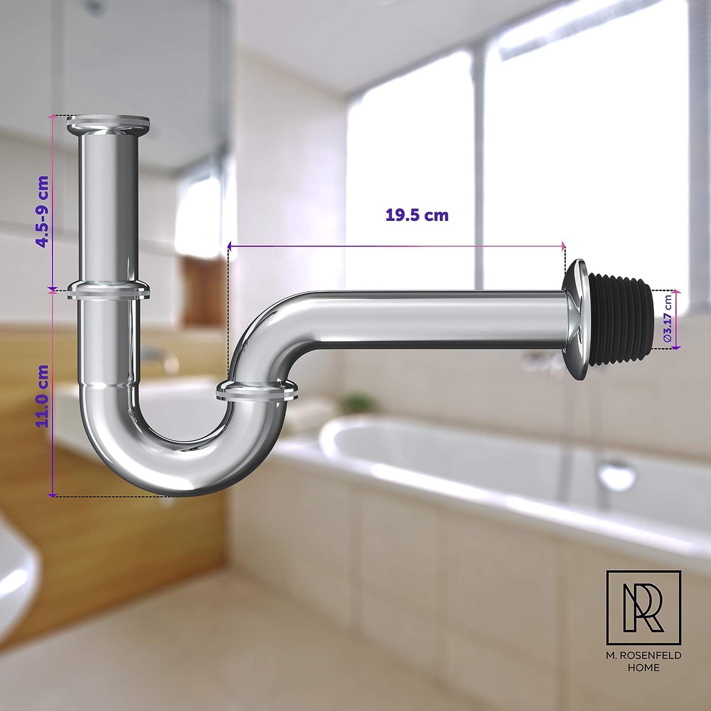 SIMPLEX Siphon universel pour lavabo avec parois en laiton et rallonge 195 mm