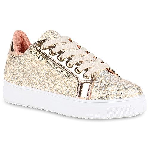 Stiefelparadies Damen Plateau Sneaker Metallic Flandell