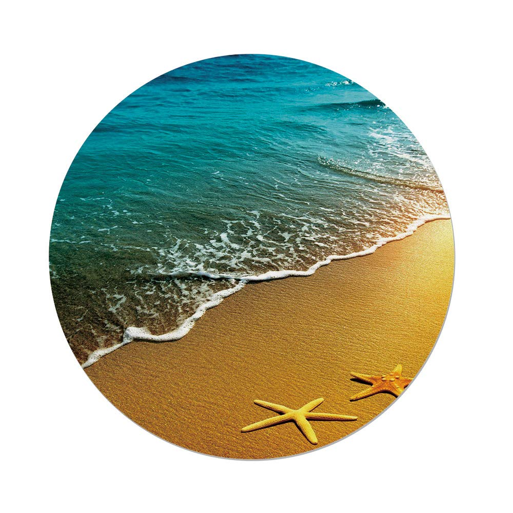 Polyester Round Tablecloth,Starfish Decor,Summer Sunset Scenery Shoreline Sand Sea Waves Calm Tranquil Island Paradise Decorative,Multicolor,Dining Room Kitchen Picnic Table Cloth Cover,for Outdoor I