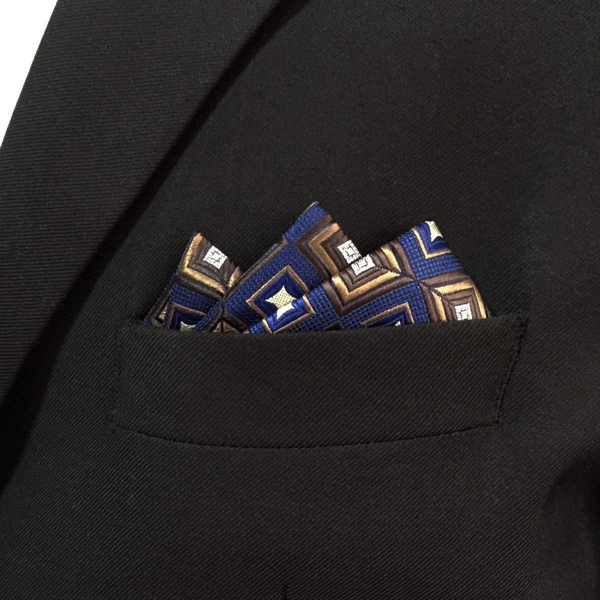 Shlax/&Wing Geometric Blue Hanky Pocket Square For Men Silk Business