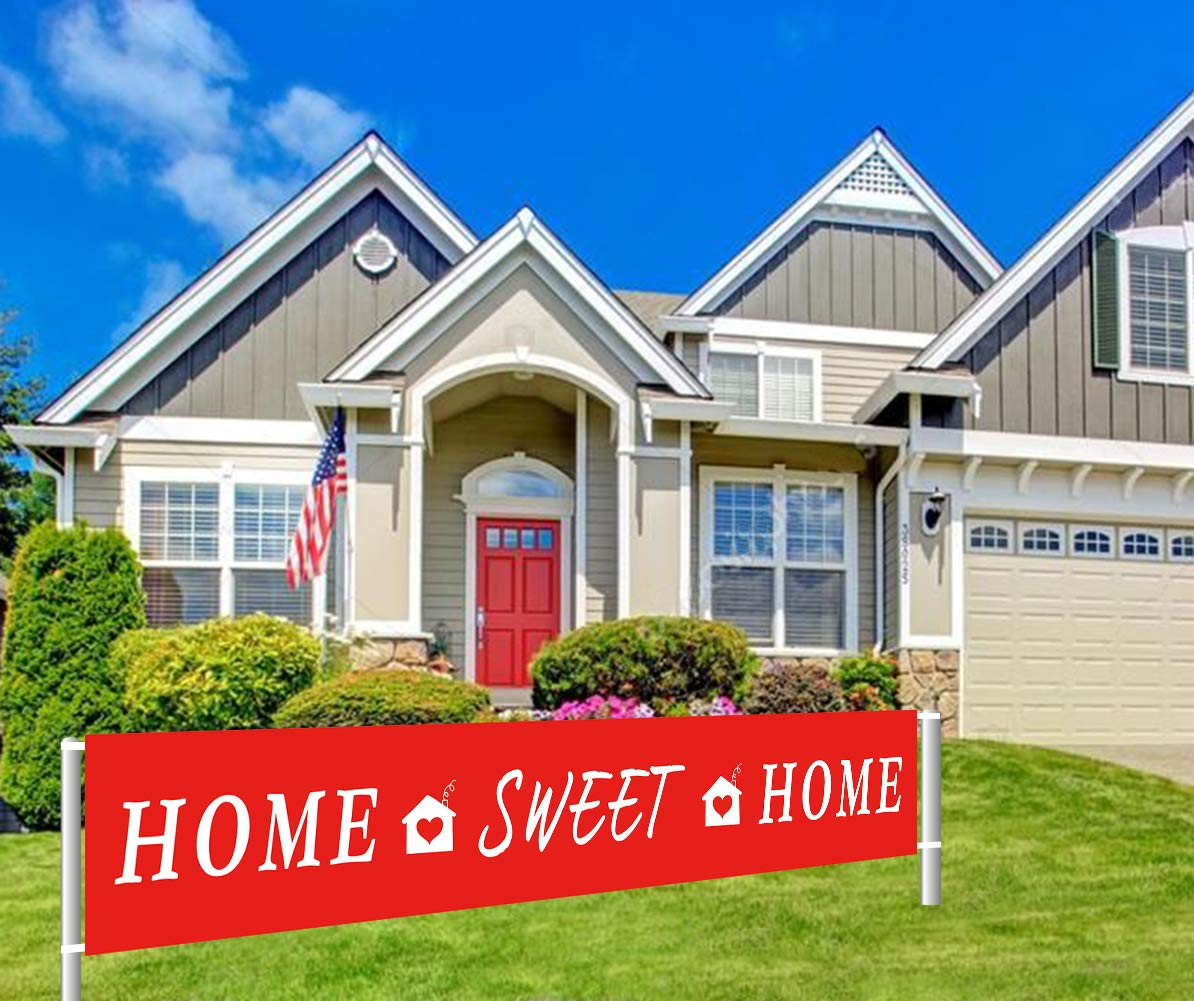 Colormoon Home Sweet Home Banner | Welcome Home Banner | Housewarming, Decorations | Family Party Supplies Home Decor | Red, White Outdoor Indoor (9.8 x 1.5 feet)
