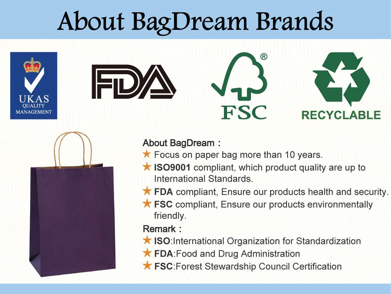 Gift Bags 8x4 75x10 5'' 25Pcs BagDream Shopping Bags,Cub, Paper Bags, Kraft  Bags, Retail Bags, Purple Stripes Paper Bags with Handles