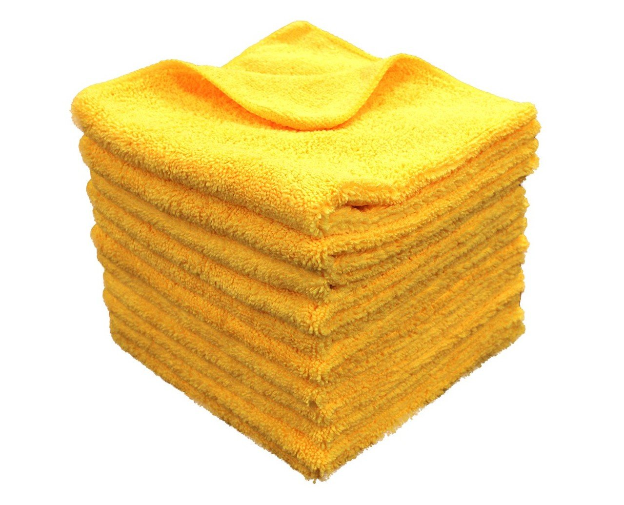 Imperial Front 24 PREMIUM PLUSH GOLD LARGE 16''X16'' 330GSM HEAVYWEIGHT PLUSH SOFT THICK ABSORBENT ALL-PURPOSE MICROFIBER DETAILING TOWELS - Ideal Screens, Windows, Mirrors & Car Care