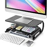 LORYERGO Monitor Stand Riser, 2-Tier Desk Organizer Stand with Metal Vented for Computer, Laptop & Printer, Desktop…