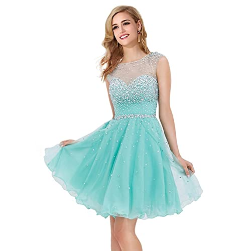 MisShow Women Crystal Open Back Short Prom Dress Cocktail/Homecoming/Party Gowns