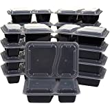 20-Pack Bento Lunch Box - 2-Compartment Meal Prep Containers with Lids - BPA Free, Stackable, Microwave and Dishwasher Safe - 36-Ounce Durable Plastic Reusable Food Storage Set