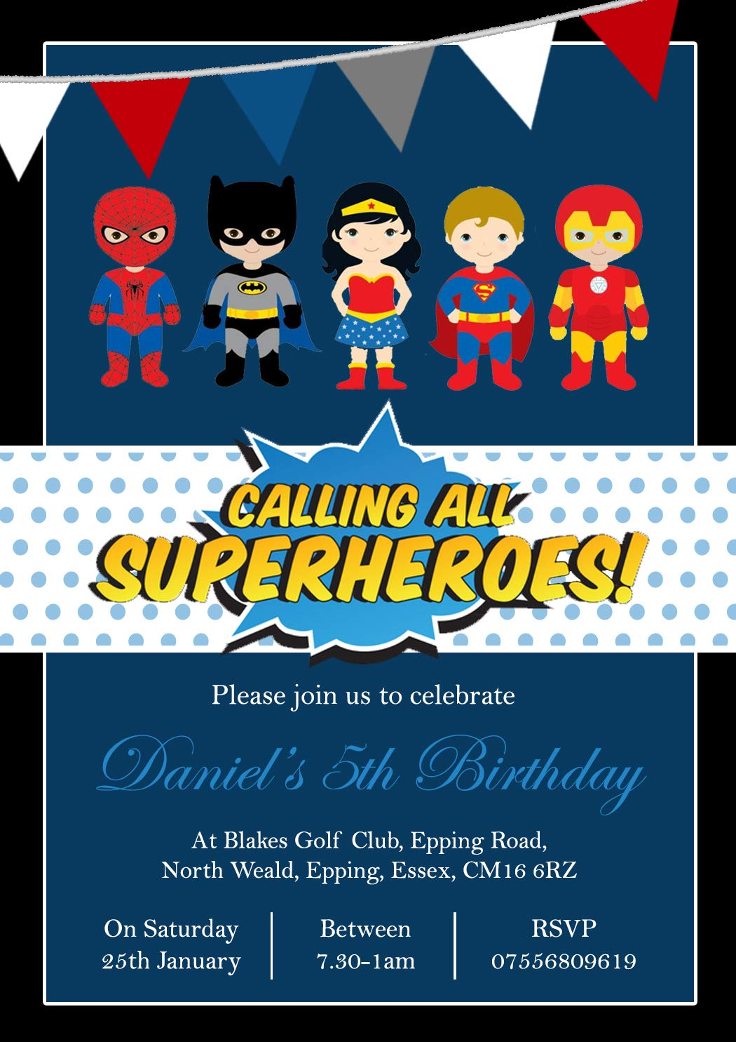 POW Personalised Calling All Superheros Childrens Birthday Invitations Printed Invites Boy Girl Joint Party Twins Unisex Photo Card