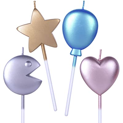 Get Fresh Birthday Cake Candles Set – 4-Pack Unique Metallic Childrens Birthday Cake Candles for Bday Party – Funny Star Heart Balloon Pac-Man Birthday Cake Cupcake Candles for Kids and Adults: Home & Kitchen