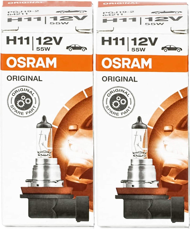 Osram 64211 H11 55 W Autolampen Halogen Leuchtmittel Birne Abblendlicht Lampen Lampe Autolampe Scheinwerferlampe 2 Stück Auto