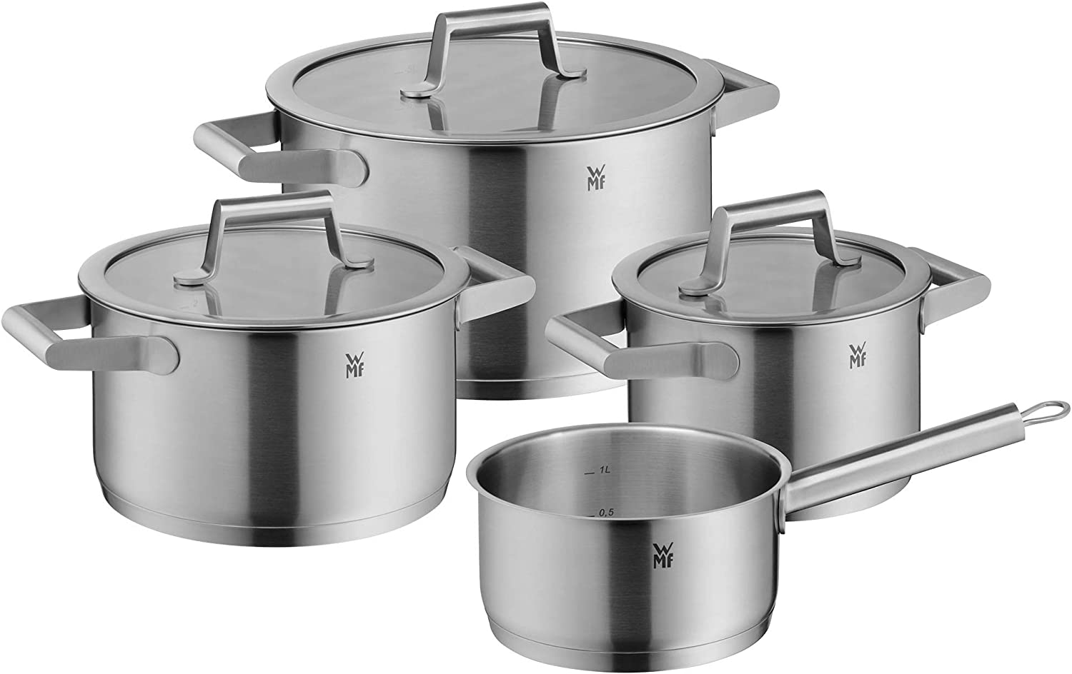 WMF 12 Comfort Line Topfset Induktion 12 teilig Cromargan Matte  Stainless Steel Pots Set with Glass Lid, Scale, Stackable, Uncoated, 12/12