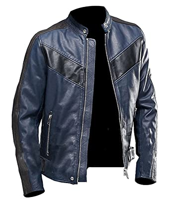 Cafe Racer Navy Blue Vintage Biker Classic Motorcycle Real Leather
