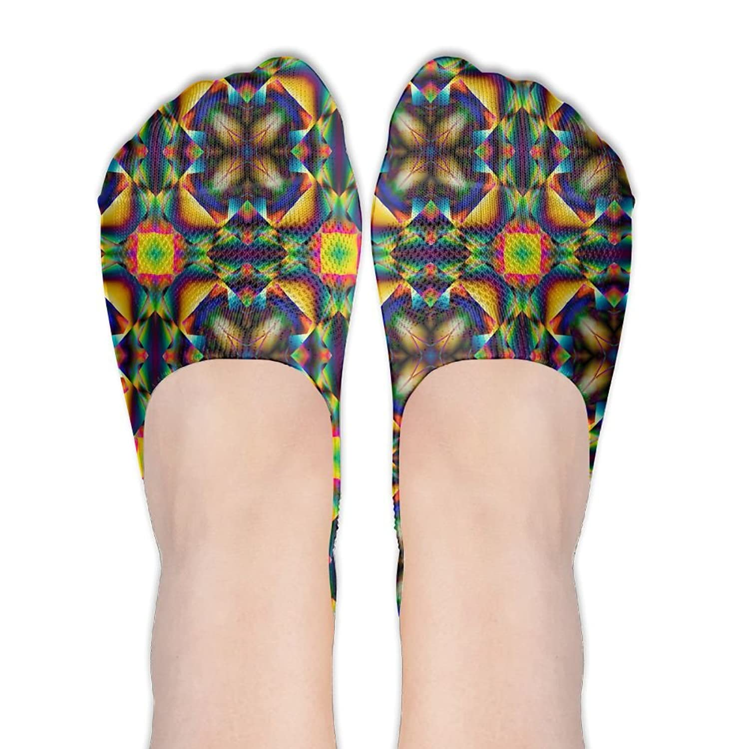 Abstract Kaleidoscope No Show Socks Liner Socks Low Cut Ped Socks Flat Boat Liners For Women