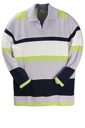 AdoniaMode Damen Pulli Pullover mit Kragen Geringelt Streifen-Muster große  Größen mit Baumwolle, Gr.48-52  Amazon.de  Bekleidung 9ffc0dc32d