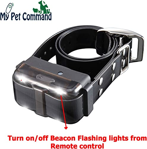 My Pet Command 1.25 Mile 6600 Ft Dog Training Collar Safe Dog Shock Collar with Remote Shock, Vibrate, Tone and Flashing Beacon Lights Waterproof Rechargeable Dog Hunting add Up to 3 Collars Bonus