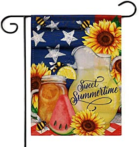 "Deloky Summer Time Outdoor Garden Flag - 12""×18"" Double-Sided Decorative House Welcome Burlap Flag,Garden Banner for Home Outdoor Decoration (Not Include a Flag Pole)"