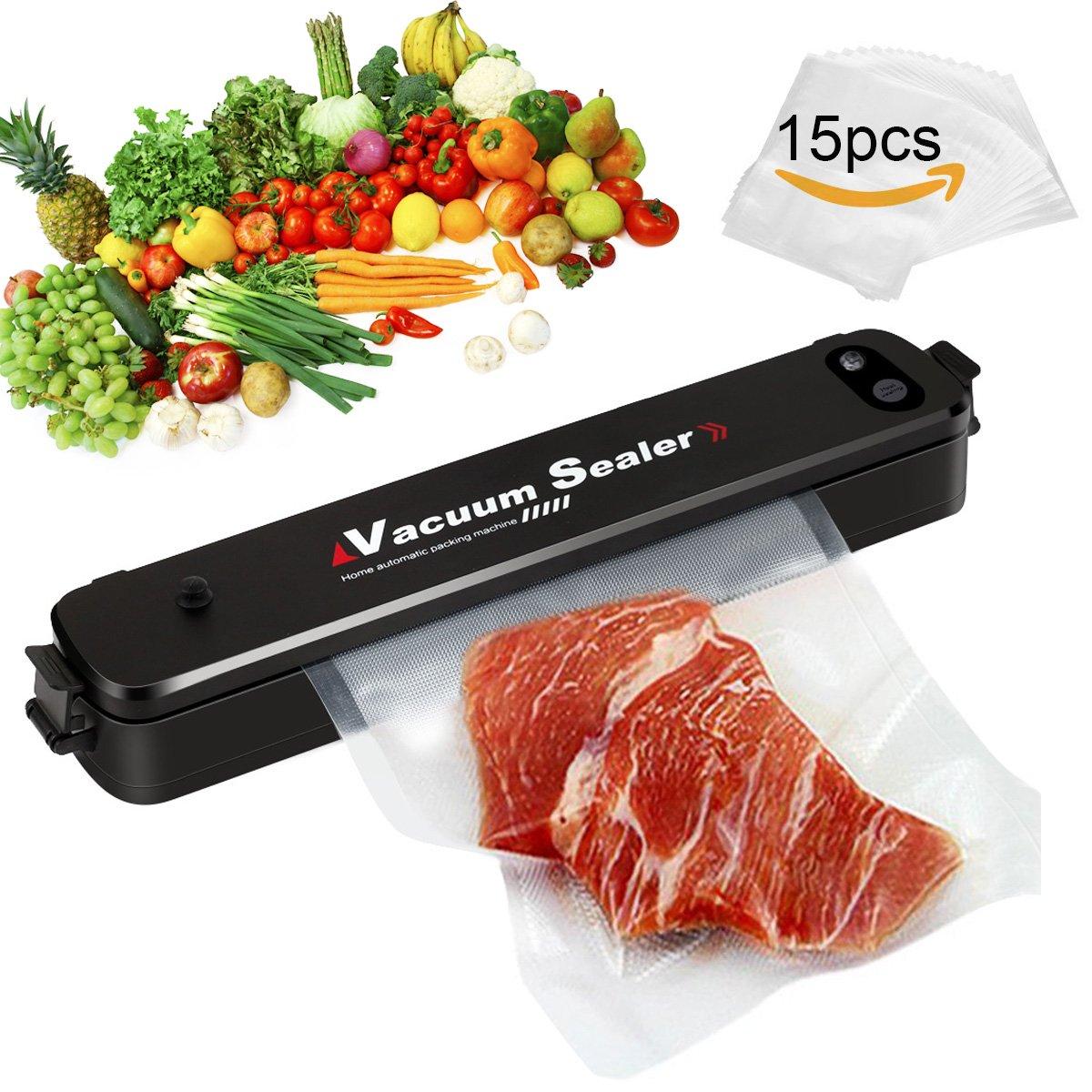 Vacuum Sealer Machine, Compact Vacuum Sealer, Vacuum Sealing System for Food Preservation, with 15 Reusable Vacuum Sealer Bags, Black