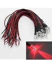 LAOMAO 1 paquete (20 bombillas) 5mm 12V DC rojo LED precableado redonda bulbo lámpara para DIY coche barco juguetes partes