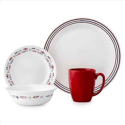 amazon com corelle 3233 dinner set glass blue red dinnerware sets rh amazon com
