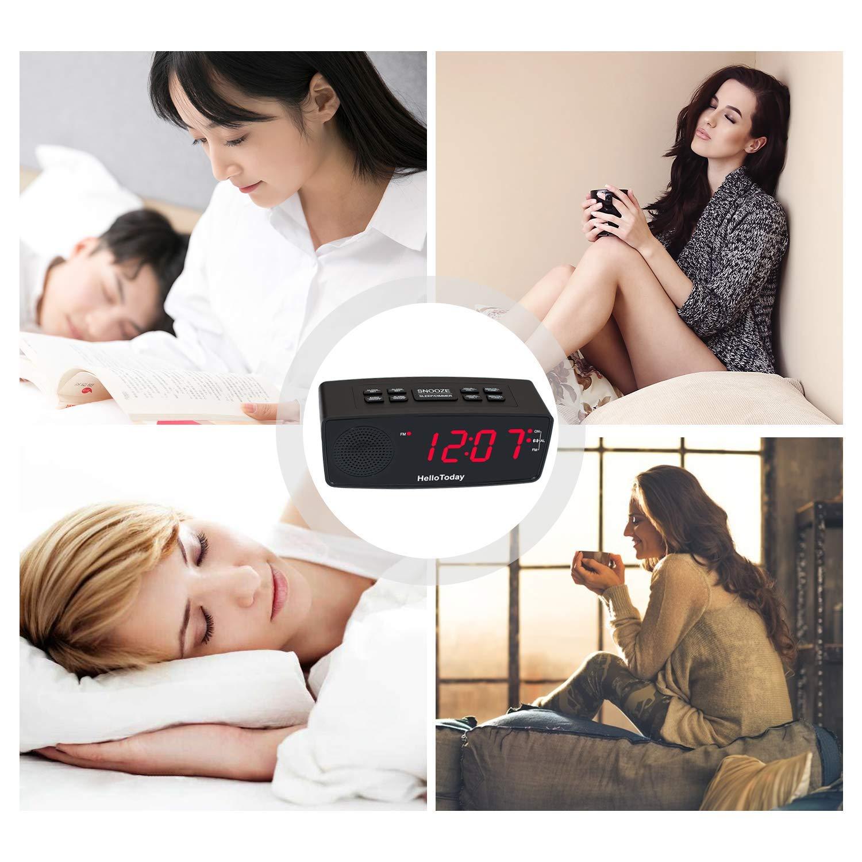 Dimmer Snooze HelloToday Projektionswecker FM Radiowecker-Doppelalarme Gro/ße Digitale LED-Anzeige USB-Ladeanschluss